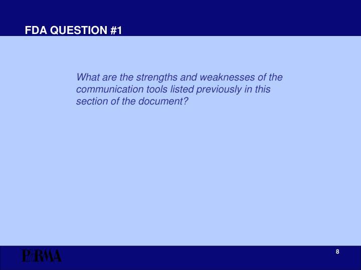FDA QUESTION #1