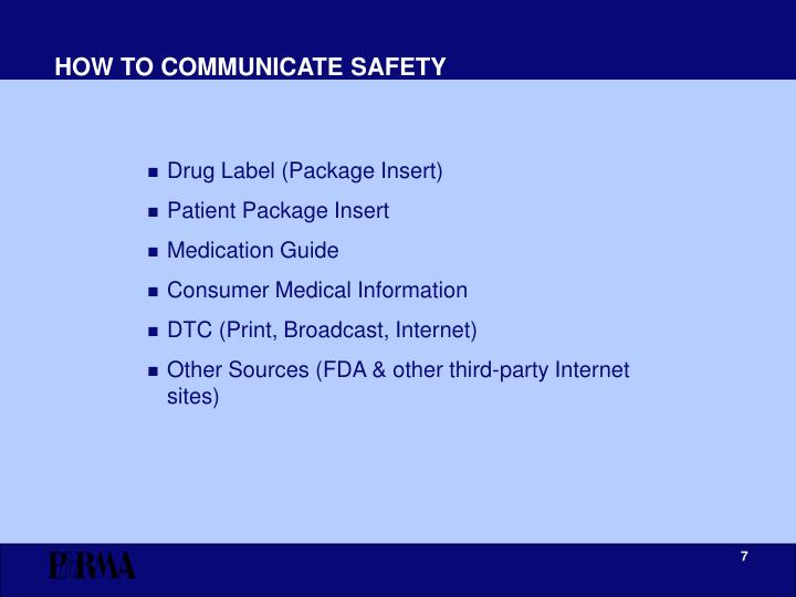HOW TO COMMUNICATE SAFETY