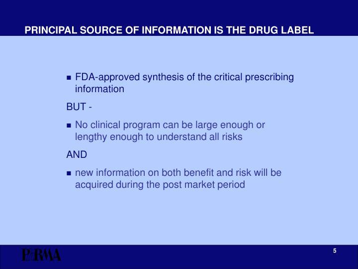 PRINCIPAL SOURCE OF INFORMATION IS THE DRUG LABEL