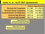 kumar et al slate 2007 questionnaire