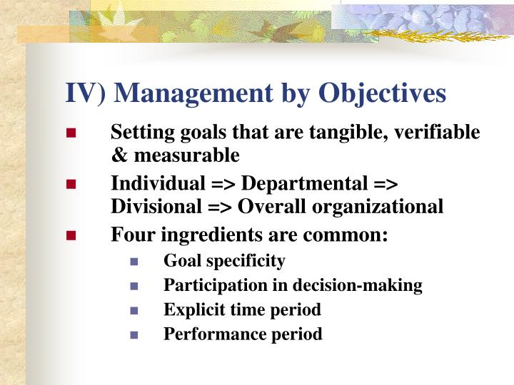 IV) Management by Objectives