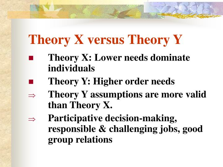 Theory X versus Theory Y