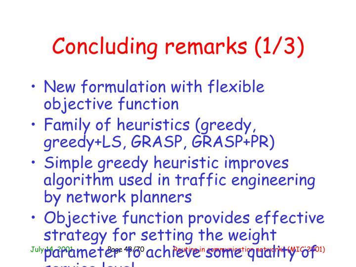 Concluding remarks (1/3)