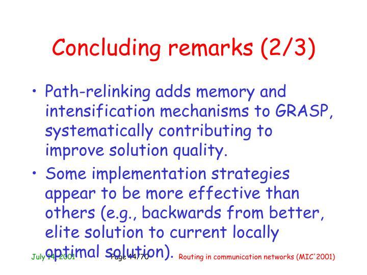 Concluding remarks (2/3)