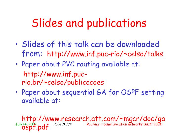 Slides and publications