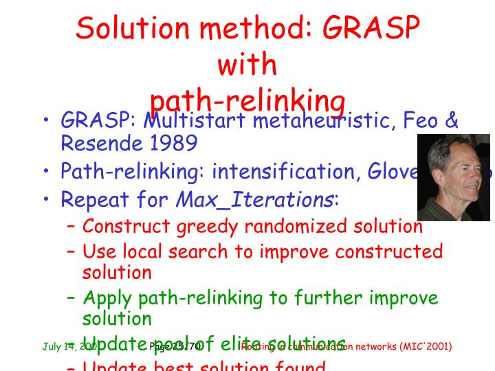 Solution method: GRASP with