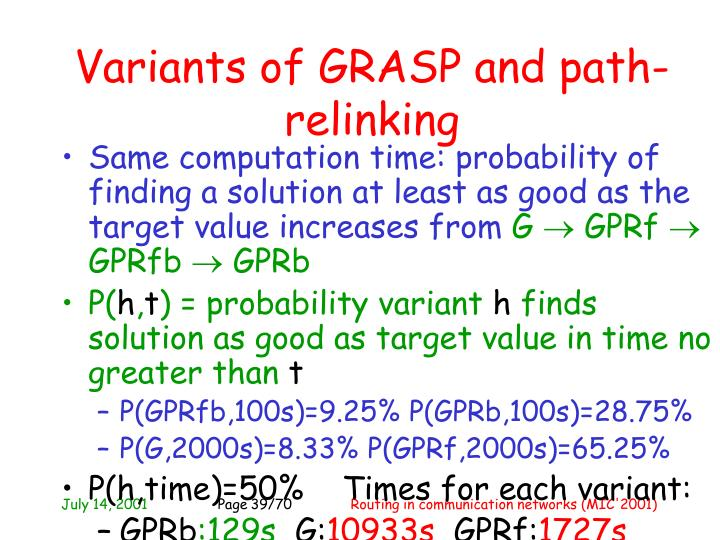 Variants of GRASP and path-relinking
