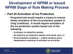 development of nprm or issued nprm stage of rule making process1