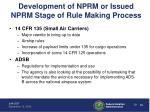 development of nprm or issued nprm stage of rule making process4