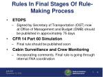 rules in final stages of rule making process