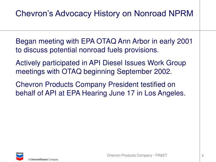 Chevron s advocacy history on nonroad nprm