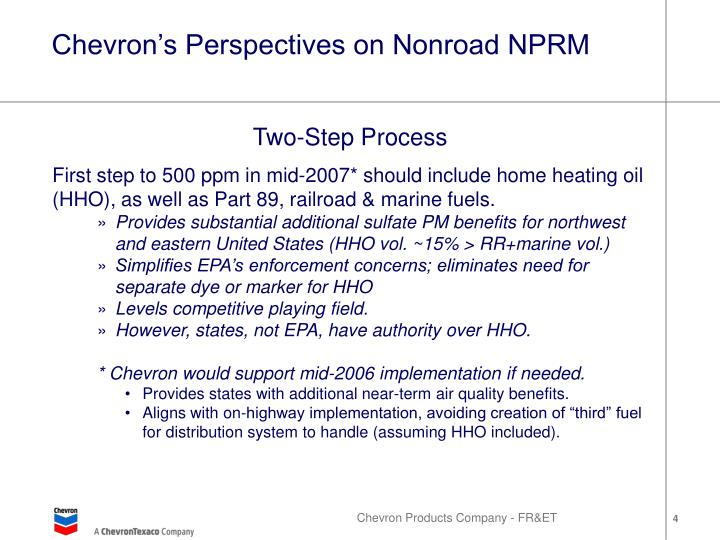 Chevron's Perspectives on Nonroad NPRM