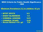 who criteria for public health significance vad