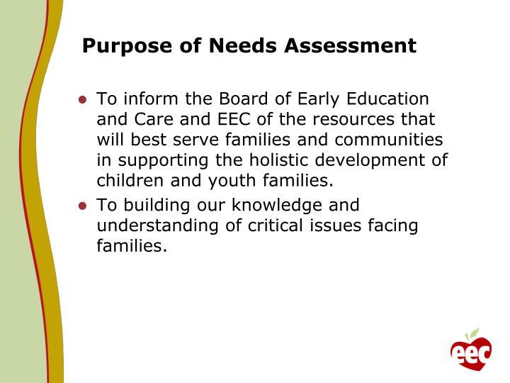 Purpose of needs assessment