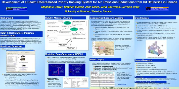 Development of a Health Effects-based Priority Ranking System for Air Emissions Reductions from Oil ...