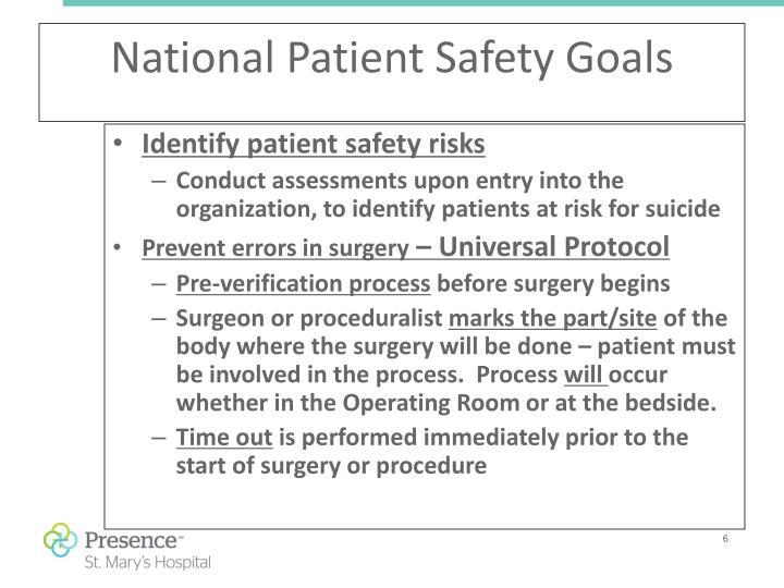Identify patient safety risks