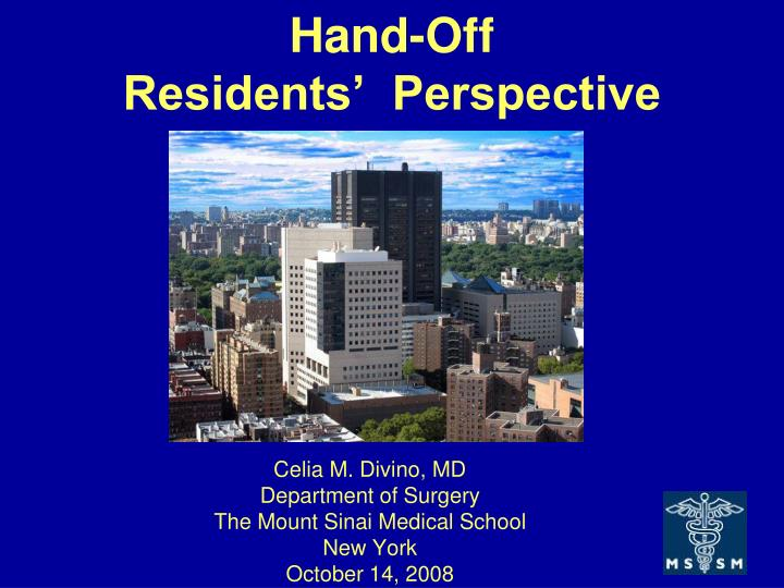 hand off residents perspective n.