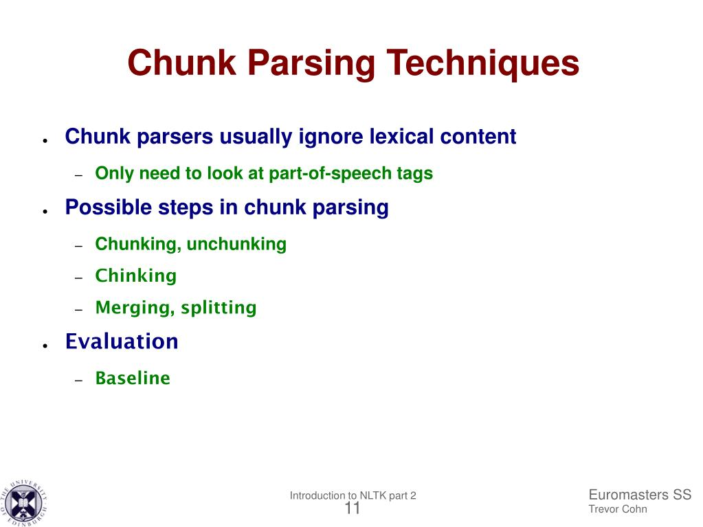 PPT - Euromasters summer school 2005 Introduction to NLTK Part II