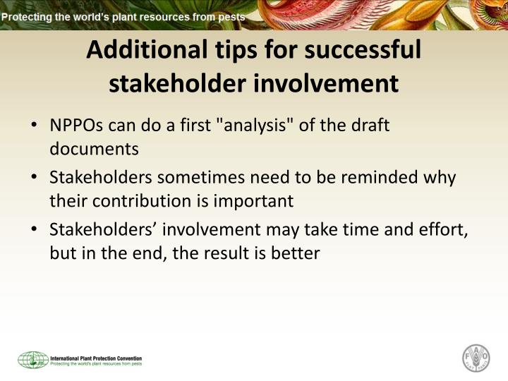 Additional tips for successful stakeholder involvement