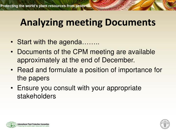 Analyzing meeting Documents