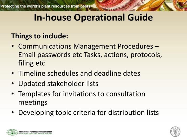 In-house Operational Guide