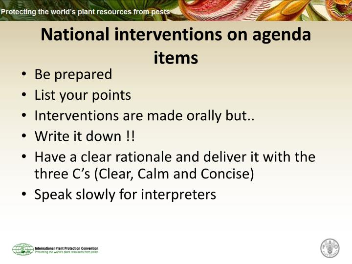 National interventions on agenda items
