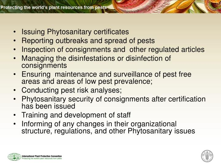 Issuing Phytosanitary certificates