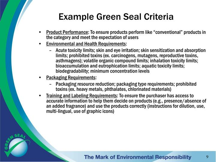 Example Green Seal Criteria