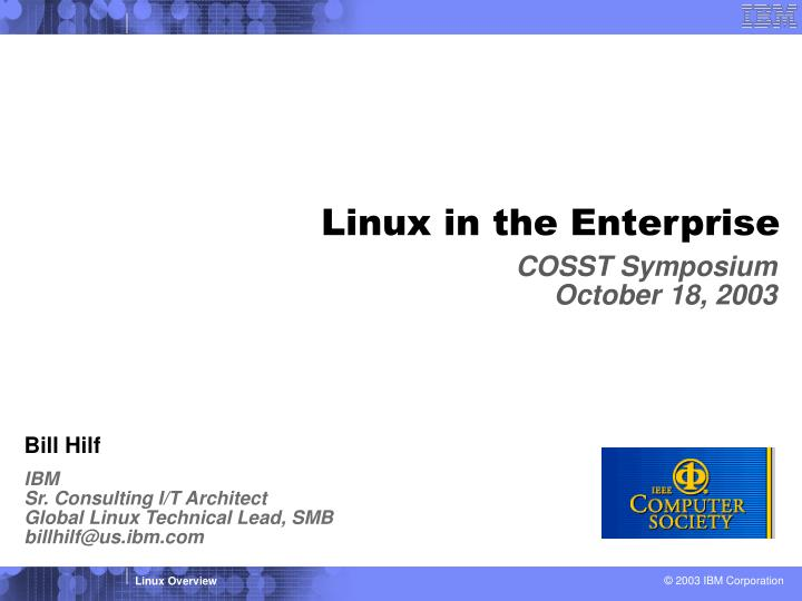 Linux in the Enterprise