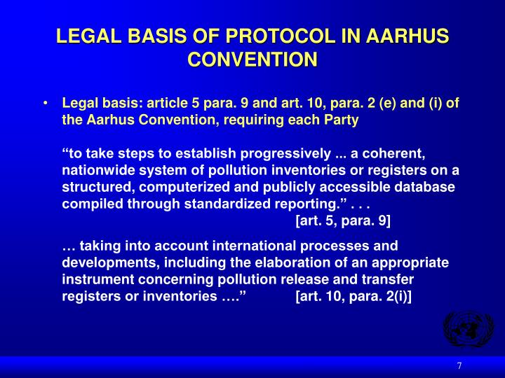 LEGAL BASIS OF PROTOCOL IN AARHUS CONVENTION