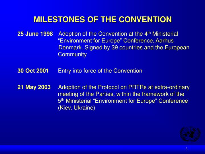 Milestones of the convention