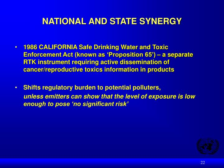 NATIONAL AND STATE SYNERGY