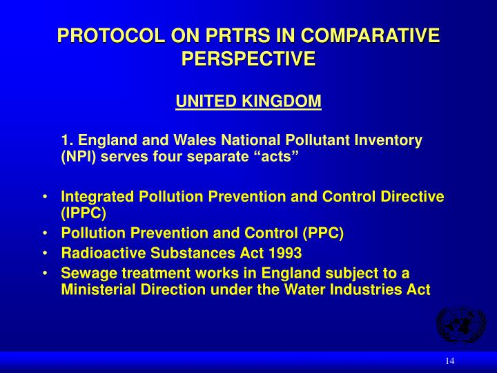 PROTOCOL ON PRTRS IN COMPARATIVE PERSPECTIVE