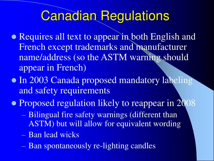 Canadian Regulations
