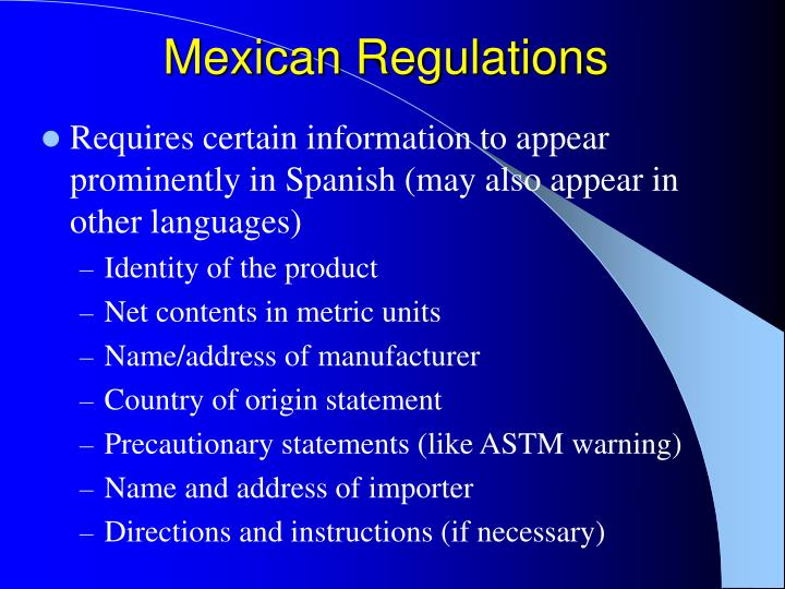 Mexican Regulations