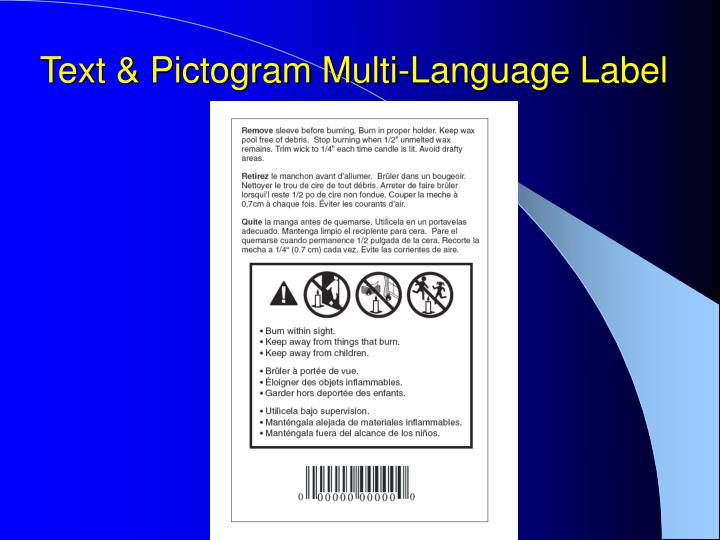 Text & Pictogram Multi-Language Label