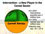 intervention a new player in the cereal sector