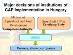 ma jor decisions of institutions of cap implementation in hungary