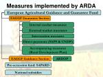 measures implemented by arda