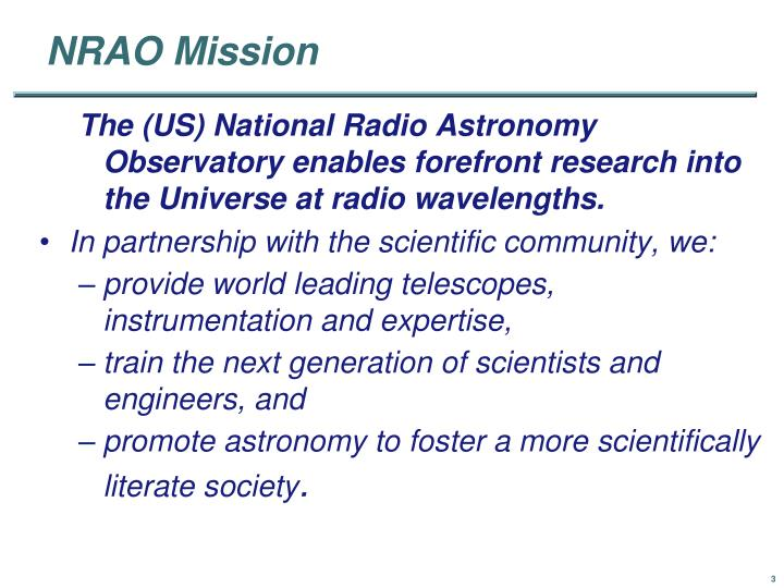 Nrao mission