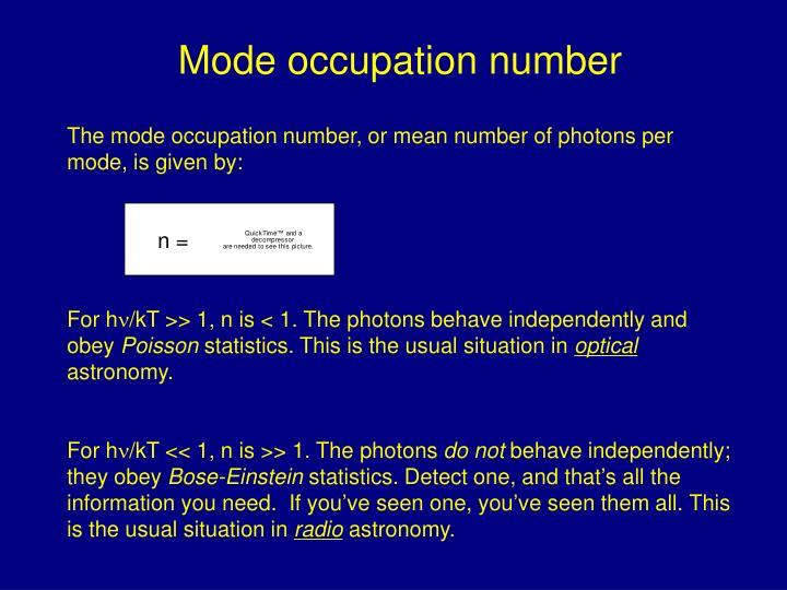 Mode occupation number