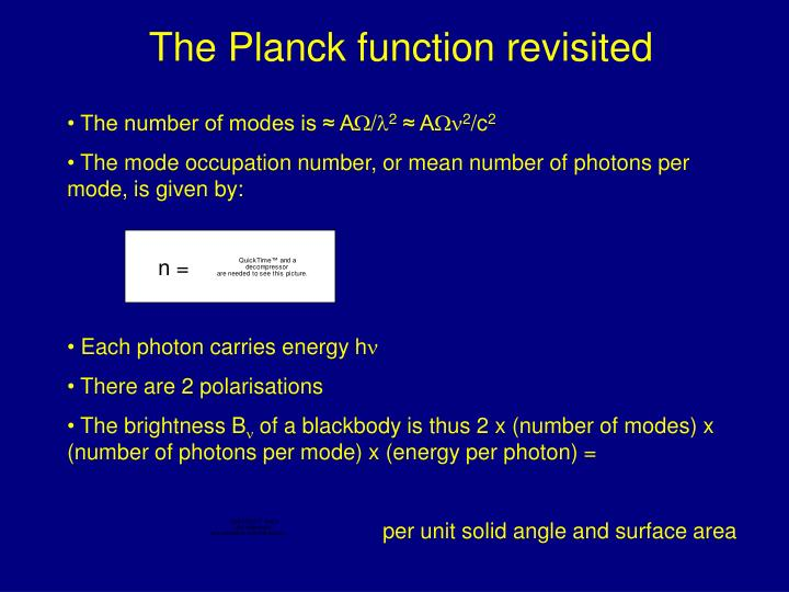 The Planck function revisited