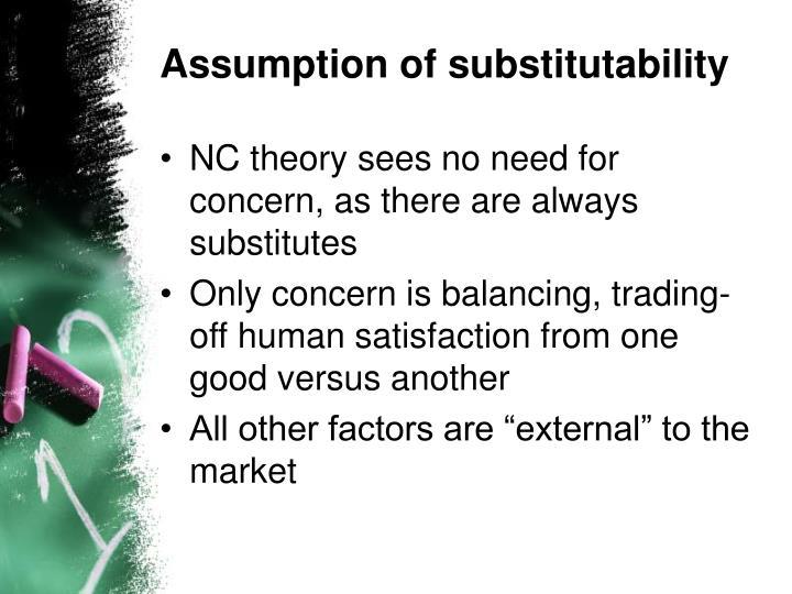 Assumption of substitutability