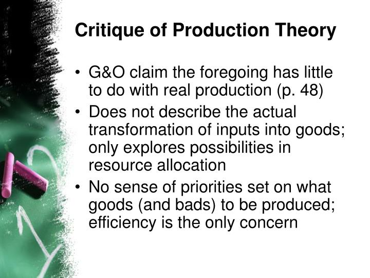 Critique of Production Theory