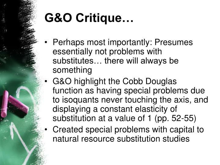 G&O Critique…