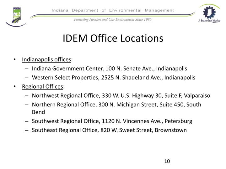 IDEM Office Locations