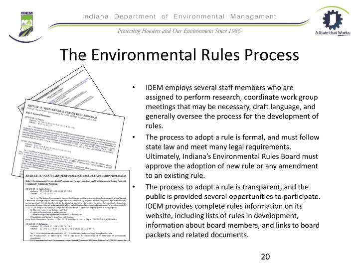 The Environmental Rules Process