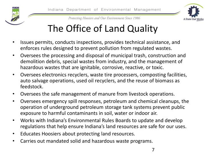 The Office of Land Quality