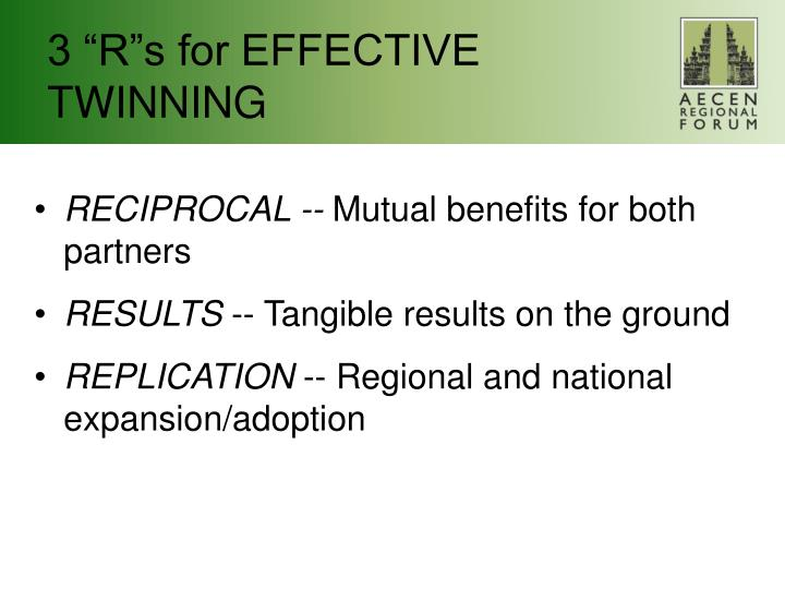 """3 """"R""""s for EFFECTIVE TWINNING"""