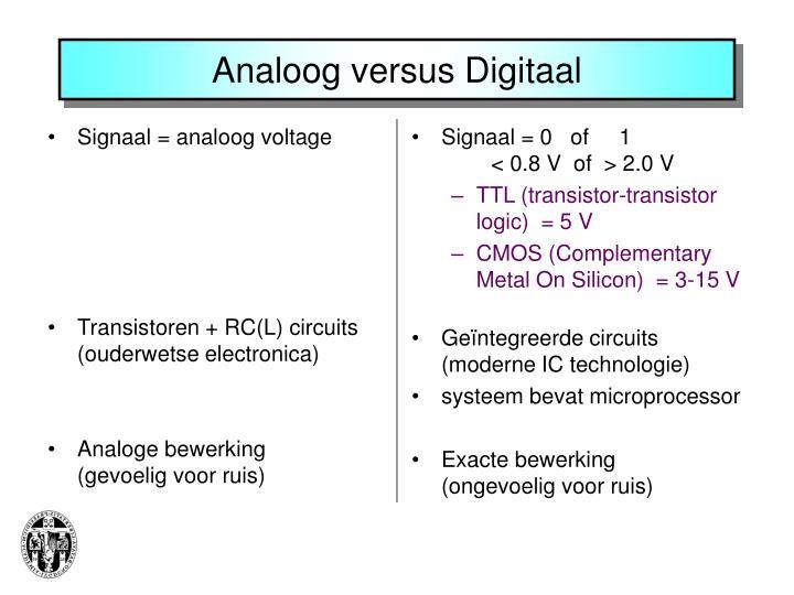 Signaal = analoog voltage